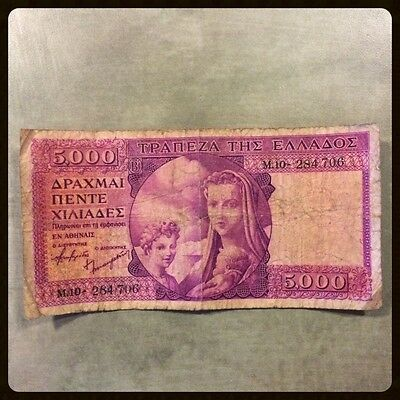 GREECE banknote/paper money 5000 Drachmai 1945 (see pics!)