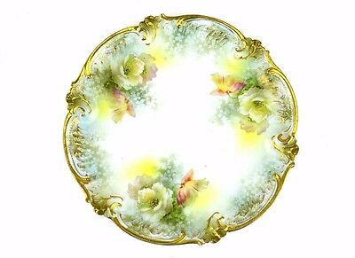 """ANTIQUE R. S. PRUSSIA PLATE HAND PAINTED STAR MARK  8 1/2"""" Green Yellow Roses"""