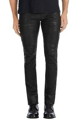 Men's Real Leather Pants Slim Fit Pants Slim Fit Trousers + FREE LEATHER BELT
