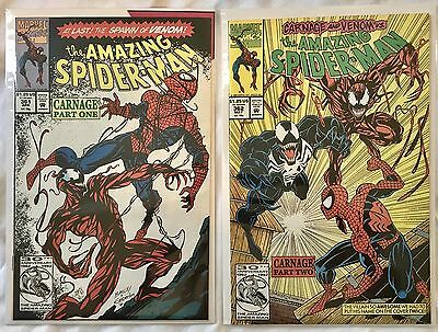 The Amazing Spider-Man #361 362 (Apr 1992, Marvel) 1st Carnage Printing Error