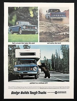 1966 Vintage Print Ad 1960s DODGE Tough Trucks Bear Car Image