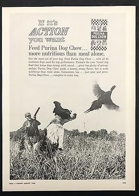 1966 Vintage Print Ad 1960s PURINA DOG CHOW Puppy Food Hunting