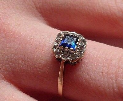 Vintage Art Deco  9ct Gold Sapphire Ring  Size N 1/2  US 7
