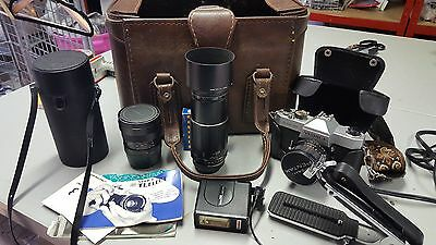 YASHICA TL ELECTRO VINTAGE CAMERA WITH CASE BAG 3x LENS AND ACCESSORIES RETRO