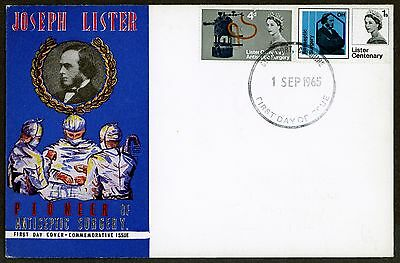 British  First Day Cover  1965 Joseph Lister Rear On Address