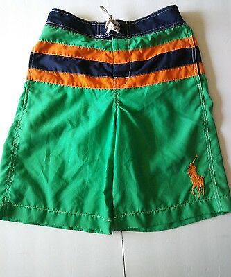 Ralph Lauren Polo boys size L 14-16 swim shorts trunks green blue orange stripes