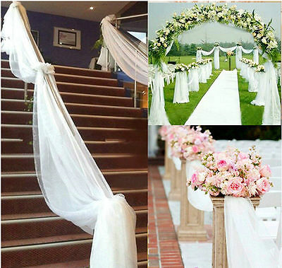 20White 10M Top Table Chair Swags Sheer Organza Fabric Wedding Party Decoration