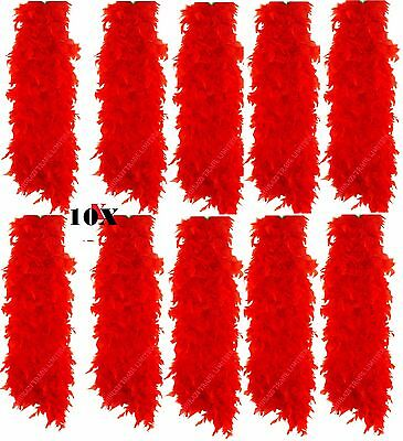 10X Red Feather Boa Burlesque Hen Night Halloween Fancy Dress Party UK Job Lot