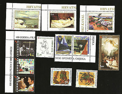Croatia Small Collection Mint Stamps Issued In 1996 Paintings, Film, Movies Art
