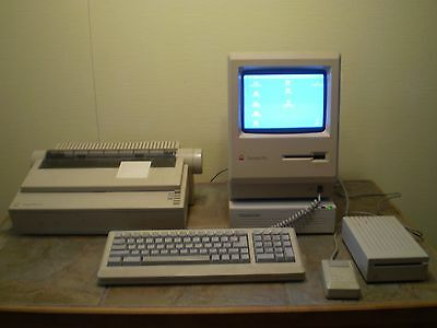 Complete Mac Plus 1 MB Computer Package with Original Boxes and Packaging