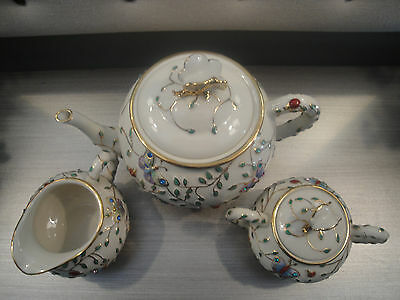 2004 Lenox Summer Enchantment Teapot, Creamer and Sugar Set