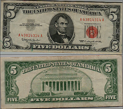 1963 $5 DOLLAR BILL OLD US NOTE LEGAL TENDER PAPER MONEY CURRENCY RED SEAL y202