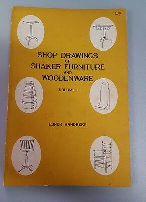 SHAKER FURNITURE & WOODENWARE Shop Drawings 1973 soft cover 88pg book Handberg