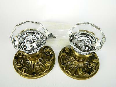 Pair Antiqued Brass French Scroll & Crystal Glass Dummy Door Knobs