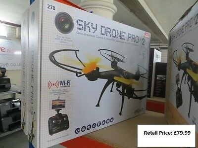 1x New Sky Drone Pro V2 Omni-directional R/C Quadcopter with HD Wi-Fi camera DRZ