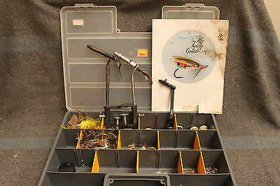 Fly Tying Kit with Materials, 3 Vises, 3 Bobbins, Spools, Feathers, etc.