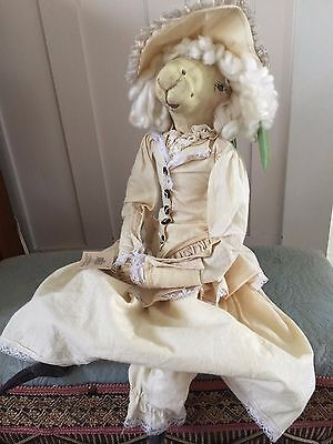 """Joe Spencer Gathered Traditions """"Patience"""" Lamb Gallery II Primitive Sheep Doll"""