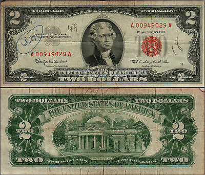 1963 $2 Dollar Bill Old Us Note Legal Tender Paper Money Currency Red Seal Y742