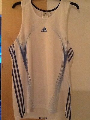 Adidas Technical running vest / Gym Work / White and Royal Blue
