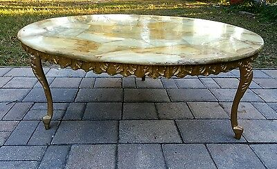 Coffee table Louis XV style french marble top gesso apron ornate metal legs