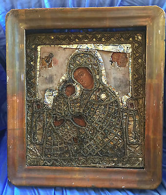 Antique Hand Painted Icon embroidered salary with frame