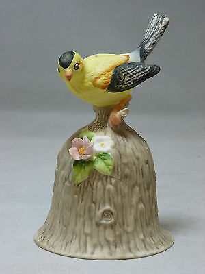 Vintage Towle Fine Bone China Yellow Goldfinch Song Bird Bell