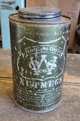Antique Golden Rule, Nutmeg Metal Spice Tin, 2 of 2 Listed