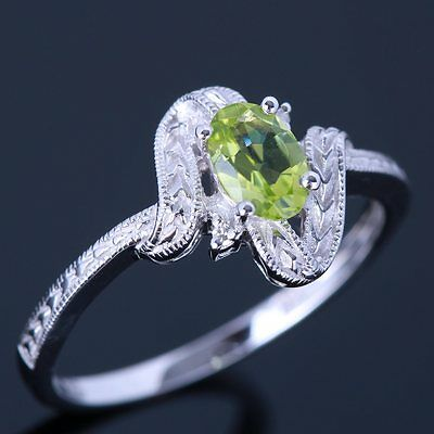 Oval 6x4mm Peridots 10K White Gold Real Diamond Engagement Wedding Gemstone Ring