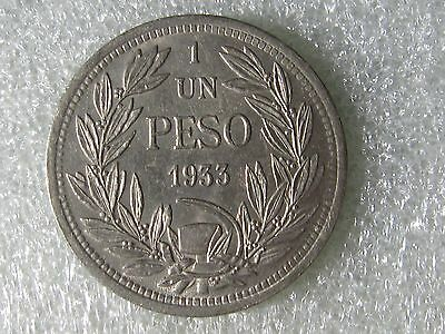 CHILE  1933  ONE PESO COIN  top coin    ONE COIN