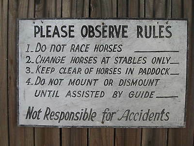 "VTG 1940's ORIGINAL Horse/ Stable/ Horseback Riding Large METAL SIGN...22"" x 14"""