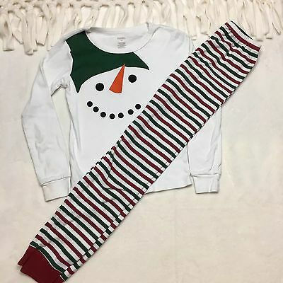 Gymboree Kids Girls Pajama Sleepwear 2 piece Shirt Pant Snowman Xmas White Sz 10