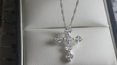 Debenhams STERLING SILVER CROSS PENDANT AND CHAIN 16 inches