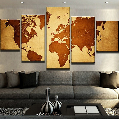 World Map Modern Home Wall Decor Frame Pictures HD Print