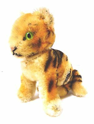 Genuine Vintage Steiff Miniature Sitting Tiger Cub with Glass Eyes - 1950's
