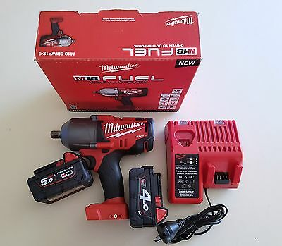 Milwaukee Fuel M18 V Impact Wrench Rattle Gun Charger Battery Brushless Combo