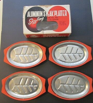 4 VINTAGE ALUMINUM & BAKELITE SIZZLING STEAK PLATTERS ~ In Original Box! ~ Japan