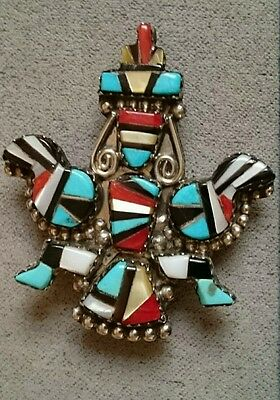 ZUNI Silver KNIFEWING Pin/Pendant SIGNED  HE Cellicion COLLECTABLE