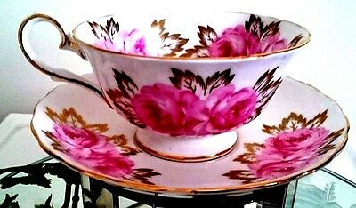 Royal Chelsea Cabbage Roses & Lavish Gold Leaves Cup And Saucer Hand Painted