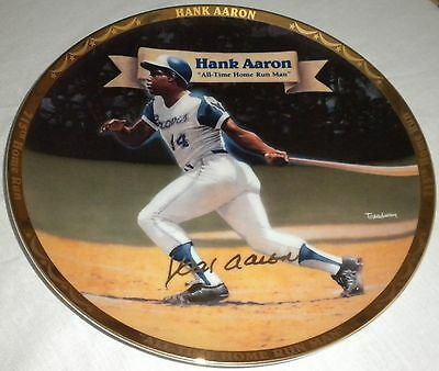 Hank Aaron Collector Plate Mint in Box with COA 1995 Braves Baseball