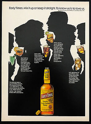 1978 Vintage Print Ad 1970s EARLY TIMES Bourbon Whiskey Silhouette Bottle Party