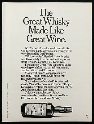 1978 Vintage Print Ad 1970s OLD FORESTER Whiskey B&W Bottle Image