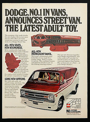 1978 Vintage Print Ad 1970s DODGE VANS Transportation Red Automobile