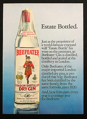 1978 Vintage Print Ad 1970s BEEFEATER Gin Bottle Liquor Alcohol
