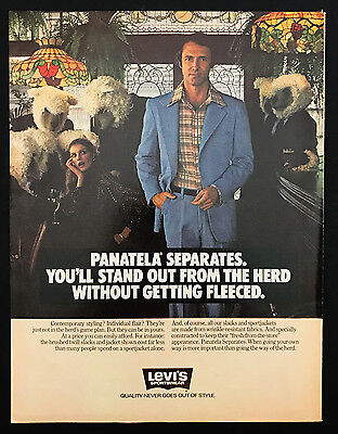 1978 Vintage Print Ad 1970s LEVI'S Fashion Men's Sheep Blue Suit