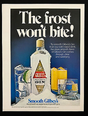 1978 Vintage Print Ad 70's GILBEY's GIN Ice Cold Frozen Blue Background