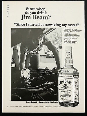 1978 Vintage Print Ad 70's JIM BEAM Bourbon Whiskey Mechanic Car Repair