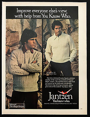 1978 Vintage Print Ad 1970s JANTZEN Men's Fashion Sweater Style
