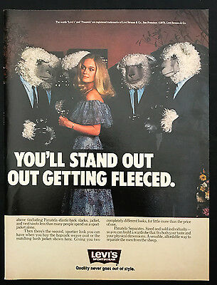 1978 Vintage Print Ad 1970s LEVI'S Fashion Clothes Sheep Woman Party