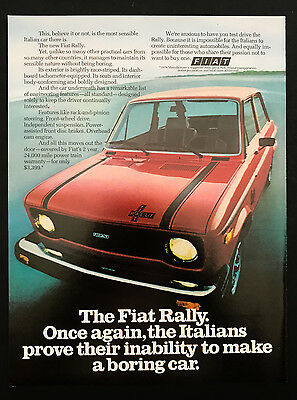 1978 Vintage Print Ad 1970s FIAT Red Sports Car Automobile Image