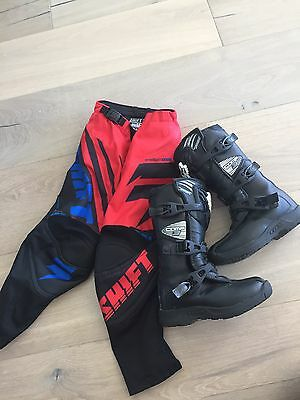 Kids Fox Boots and Shift MX 22 Racing Pants